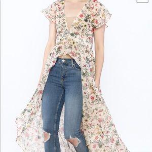 Hommage long floral overpiece flutter cardigan